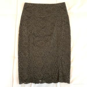 Express ✖️ Lace Pencil Skirt Olive Green
